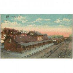 carte postale ancienne Belgique. SERAING la Gare avec train