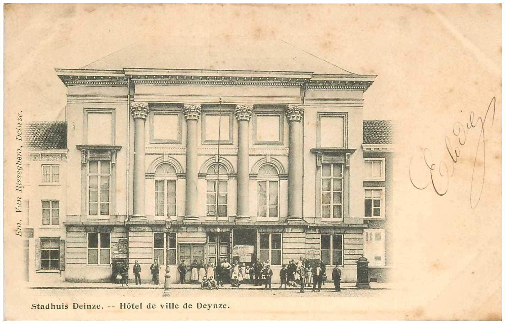 carte postale ancienne Belgique. STADHUIS DEINZE. Hôtel de Ville de Deynze 1908