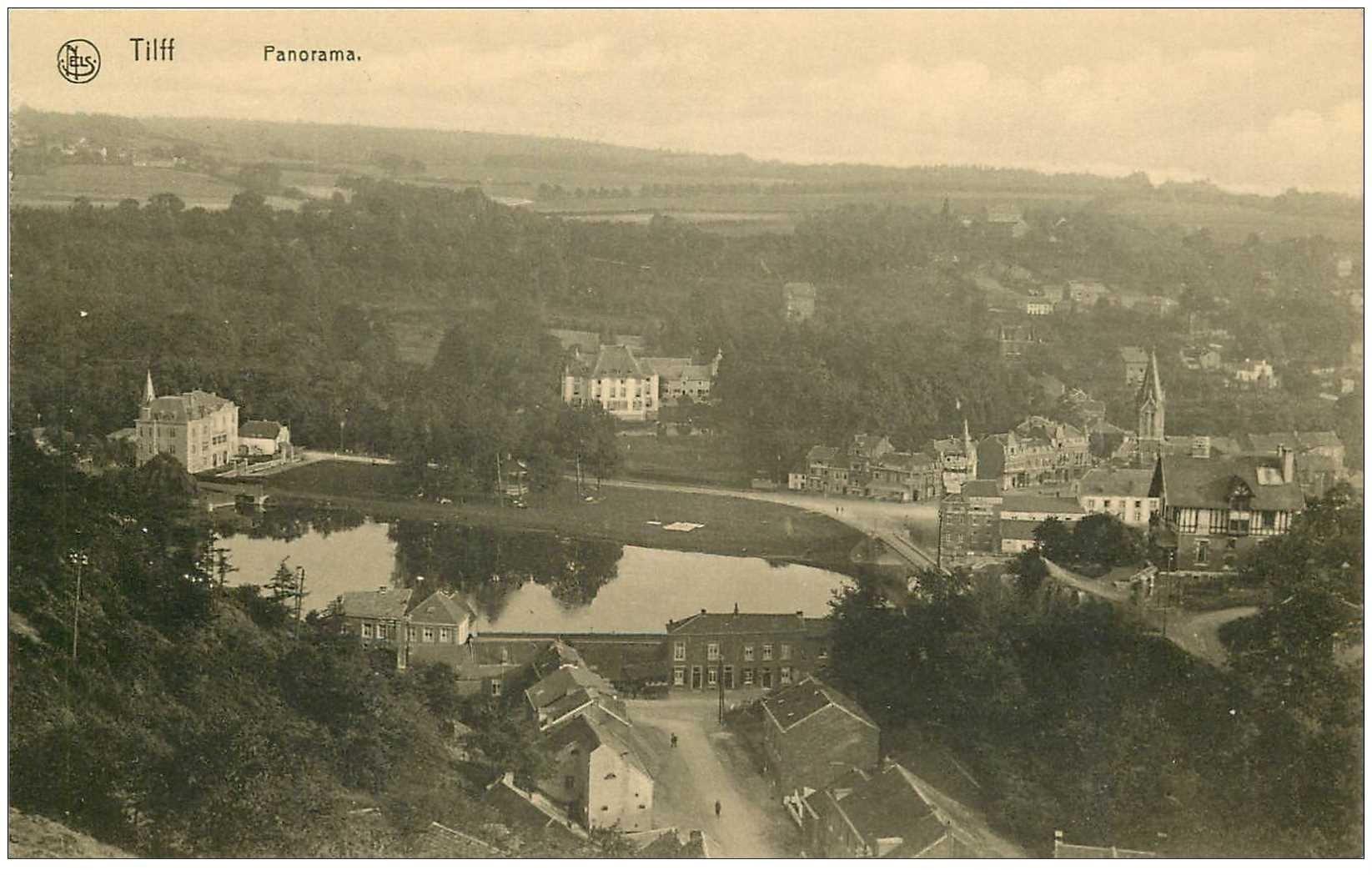 carte postale ancienne Belgique. TILFF. Panorama Eglise et Chteau