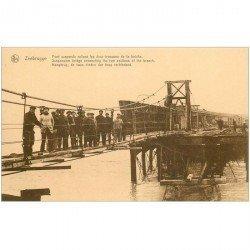 carte postale ancienne Belgique. ZEEBRUGGE Pont suspendu reliant 2 tronçons de la brêche