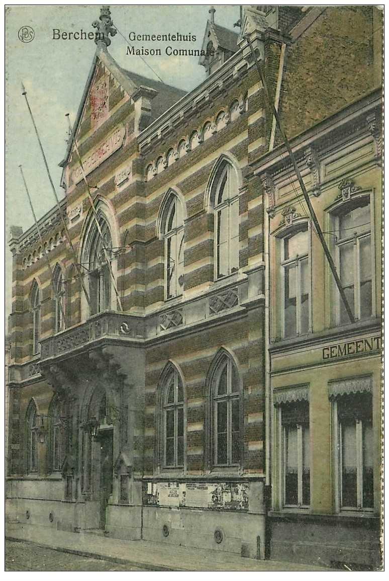 carte postale ancienne BERCHEM. Maison Comunale 1933