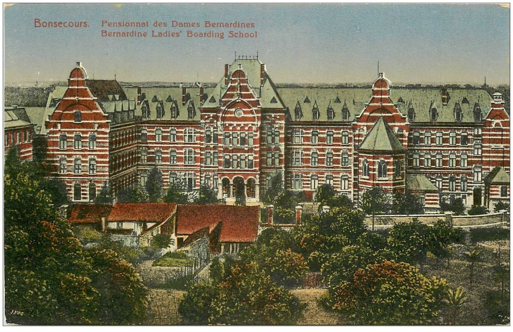 carte postale ancienne BONSECOURS. Pensionnat Dames Bernardines 1942