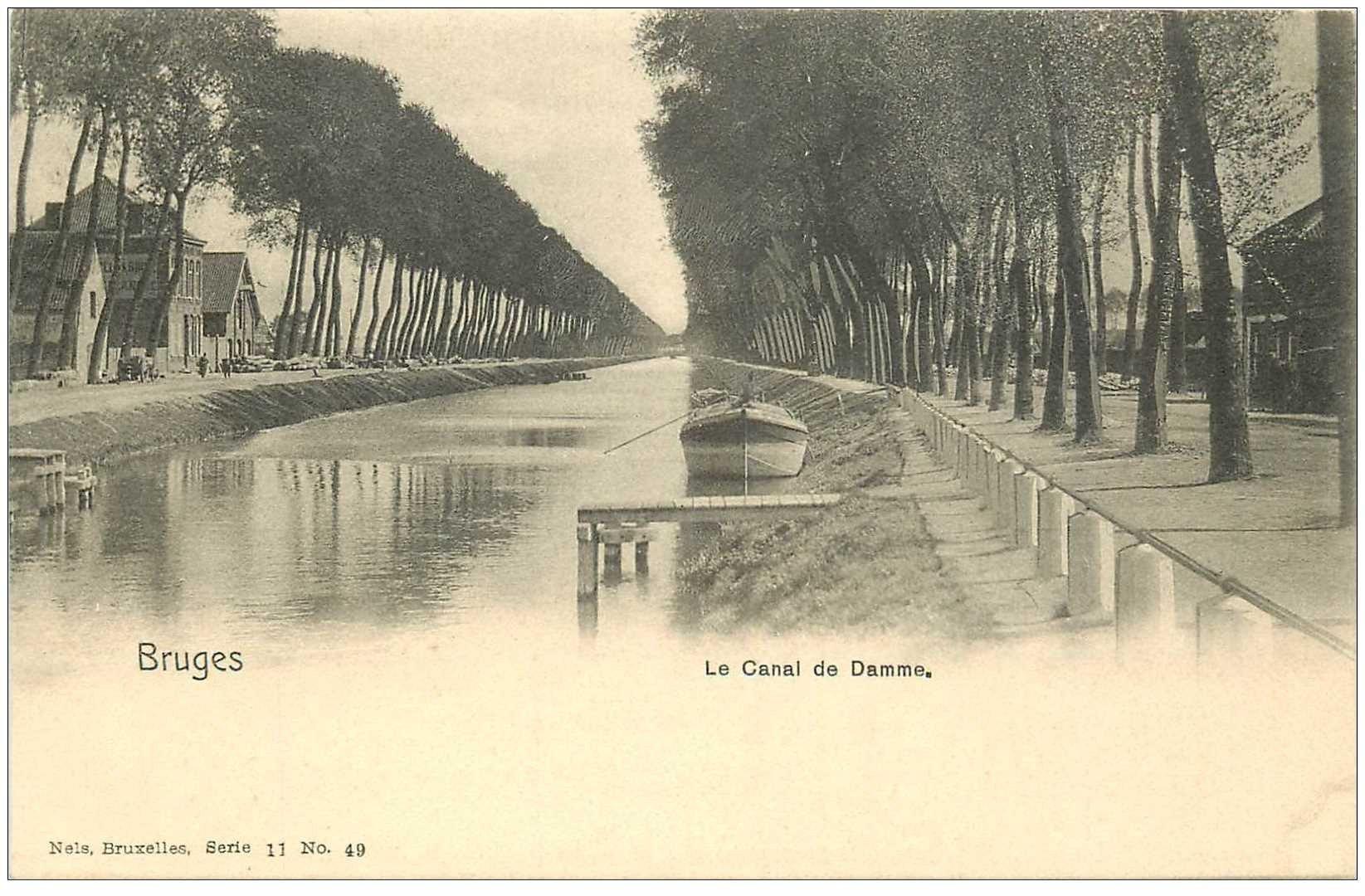 carte postale ancienne BRUGGE BRUGES. Le Canal de Damme