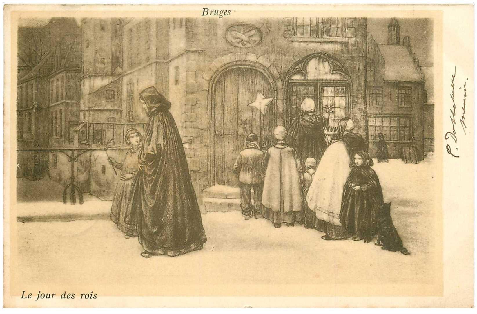 carte postale ancienne BRUGGE BRUGES. Le Jour des Rois 1901