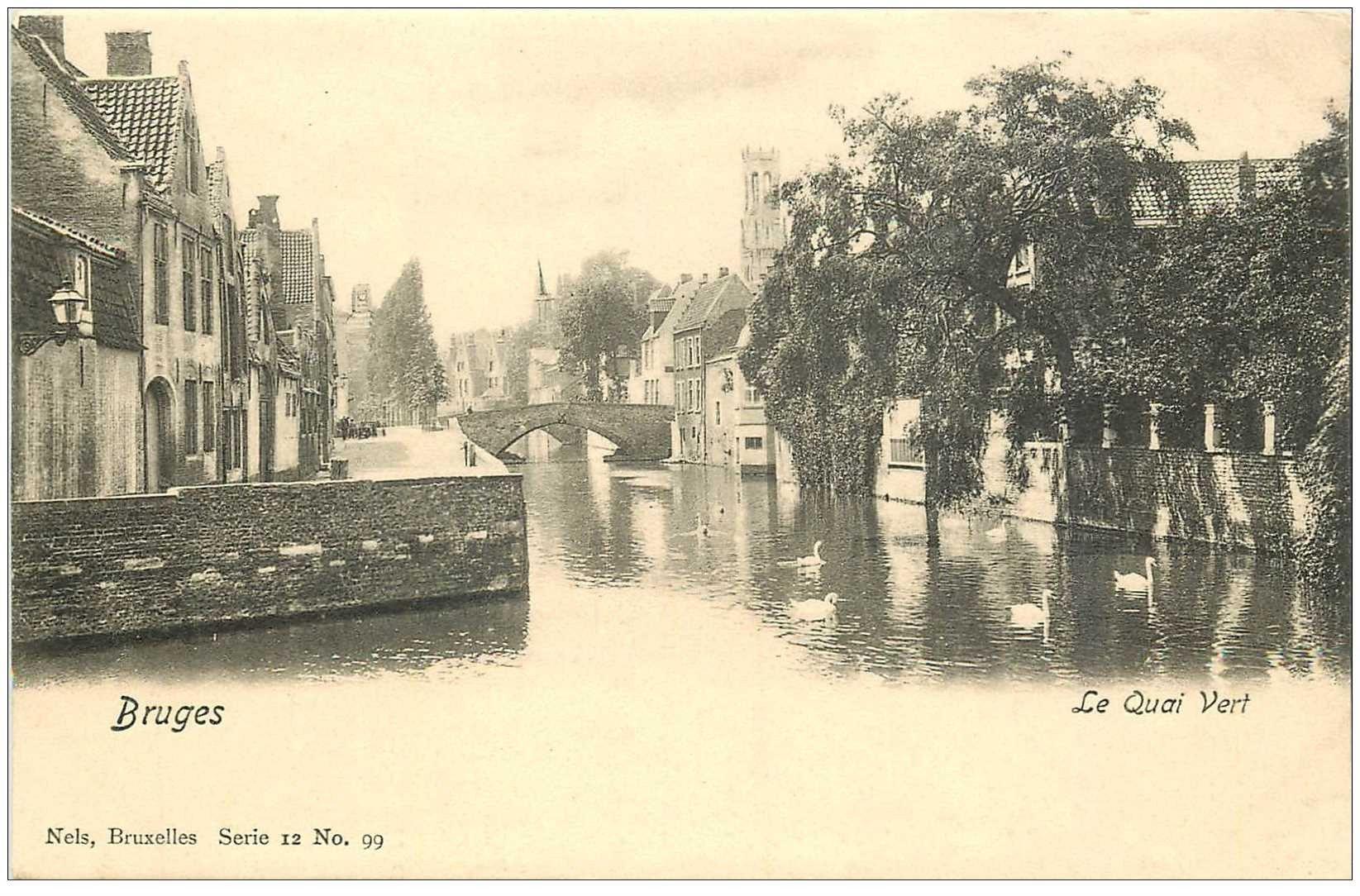 carte postale ancienne BRUGGE BRUGES. Le Quai Vert