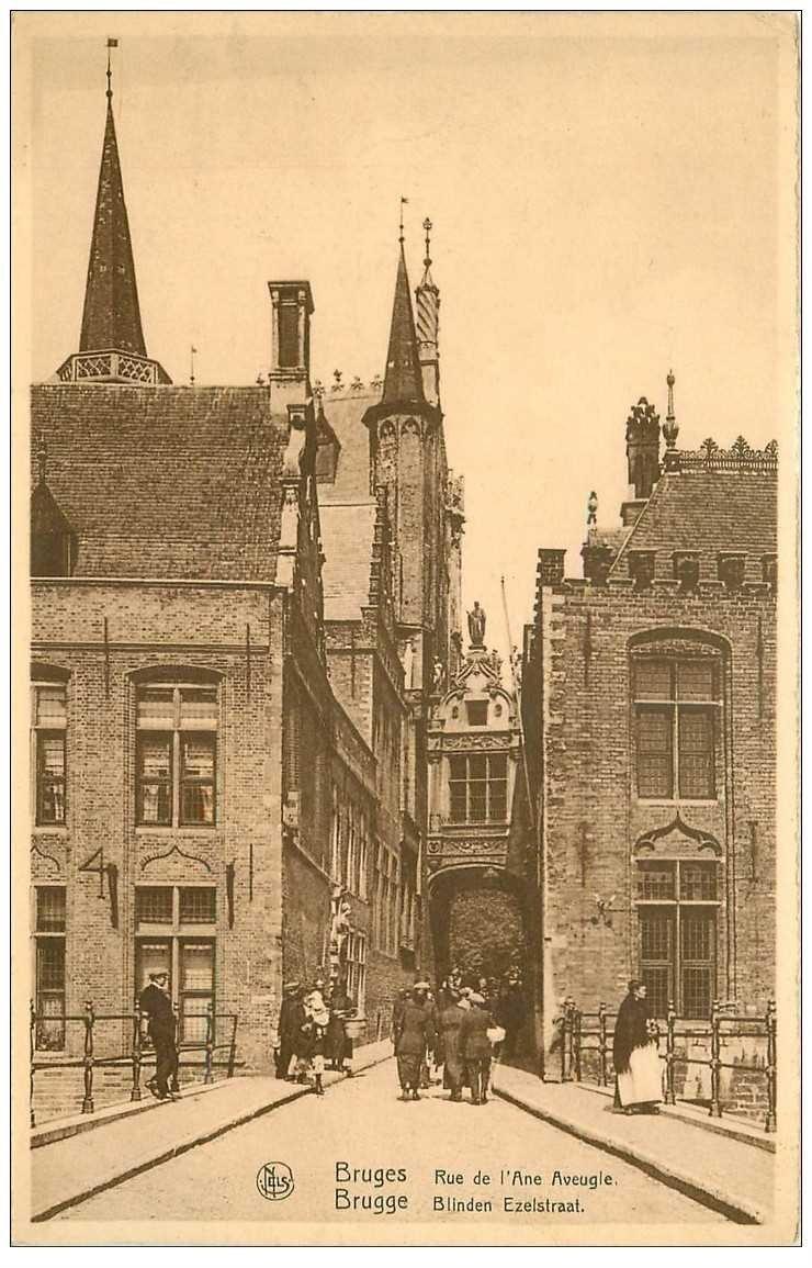carte postale ancienne BRUGGE BRUGES. Rue de l'Ane Aveugle 1935