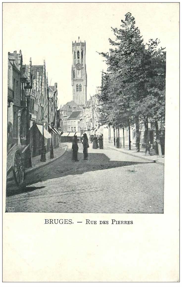 carte postale ancienne BRUGGE BRUGES. Rue des Pierres