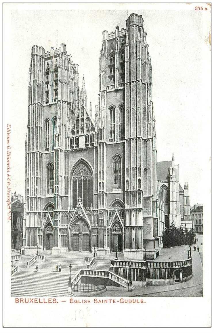 carte postale ancienne BRUXELLES. Eglise Sainte Gudule