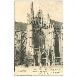 carte postale ancienne BRUXELLES. Eglise Sainte Gudule 1903
