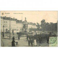 carte postale ancienne BRUXELLES. Fontaine de Bouckéré l 1911 pour Tonkin attelages Fiacres
