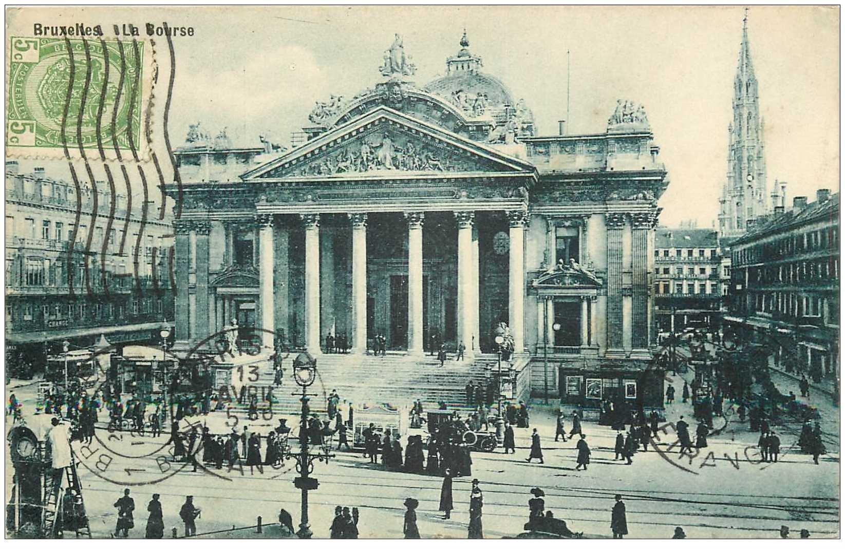 carte postale ancienne BRUXELLES. La Bourse 1911 pour le Tonkin