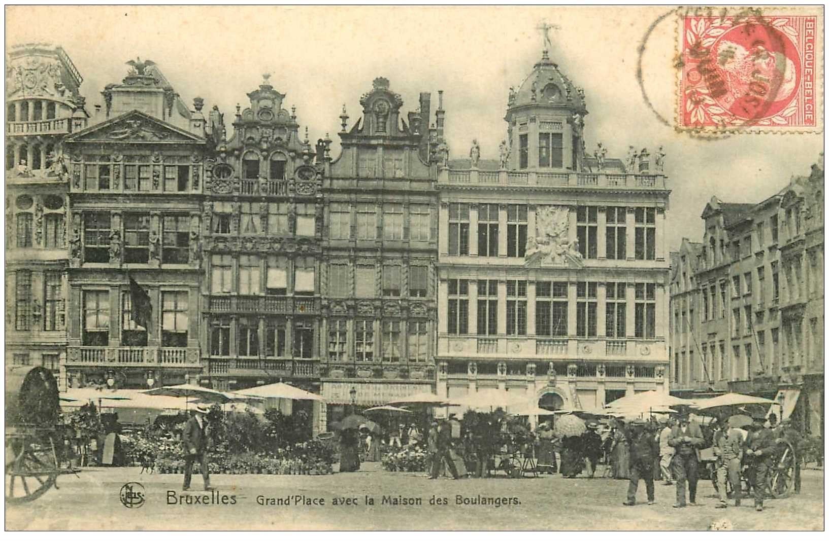 bruxelles maisons des boulangers sur grand place 1909. Black Bedroom Furniture Sets. Home Design Ideas