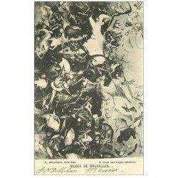 carte postale ancienne BRUXELLES. Musée la chute des Anges rebelles par Breughel 1901