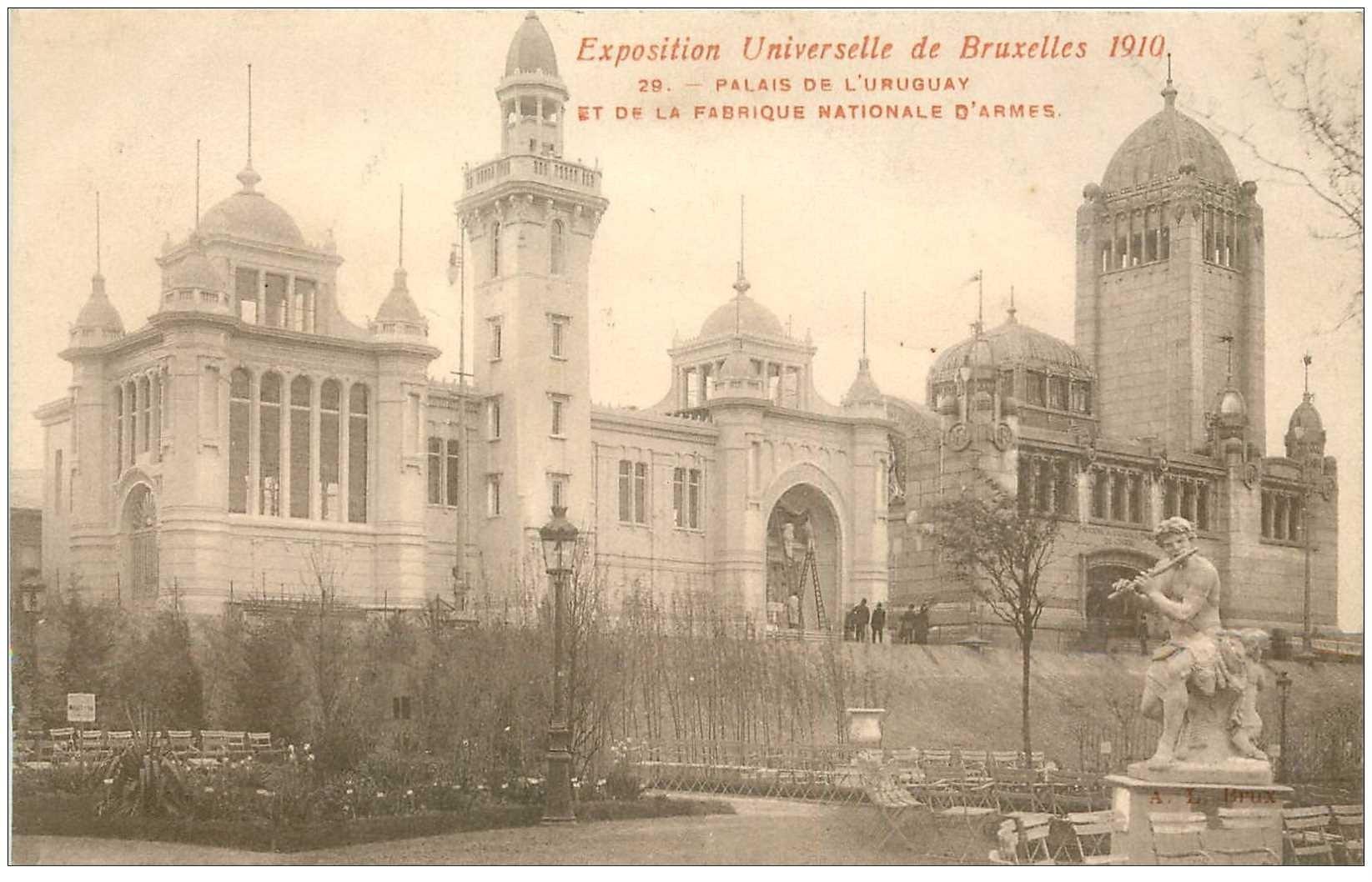 carte postale ancienne BRUXELLES. Palais Urugay et Fabrique Nationale d'Armes Exposition de 1910