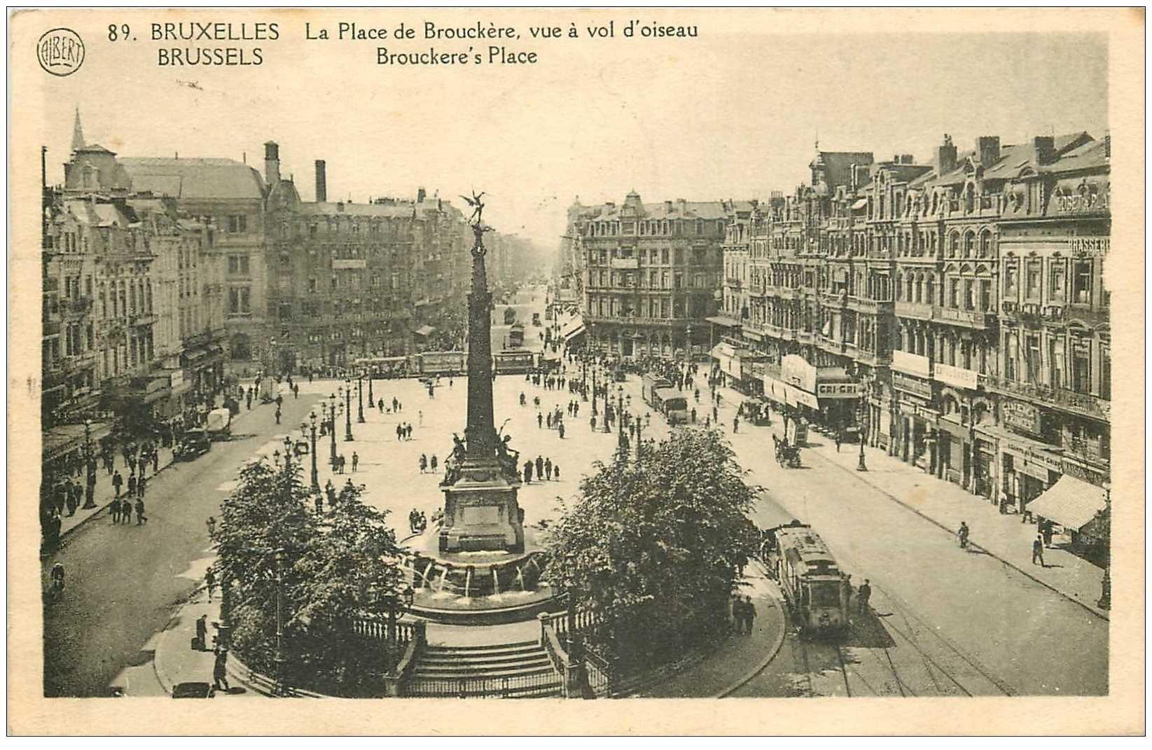 carte postale ancienne BRUXELLES. Place de Brouckère 1926