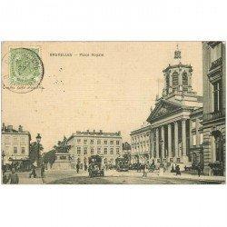 carte postale ancienne BRUXELLES. Place Royal 1911 pour Tonkin carte toilée
