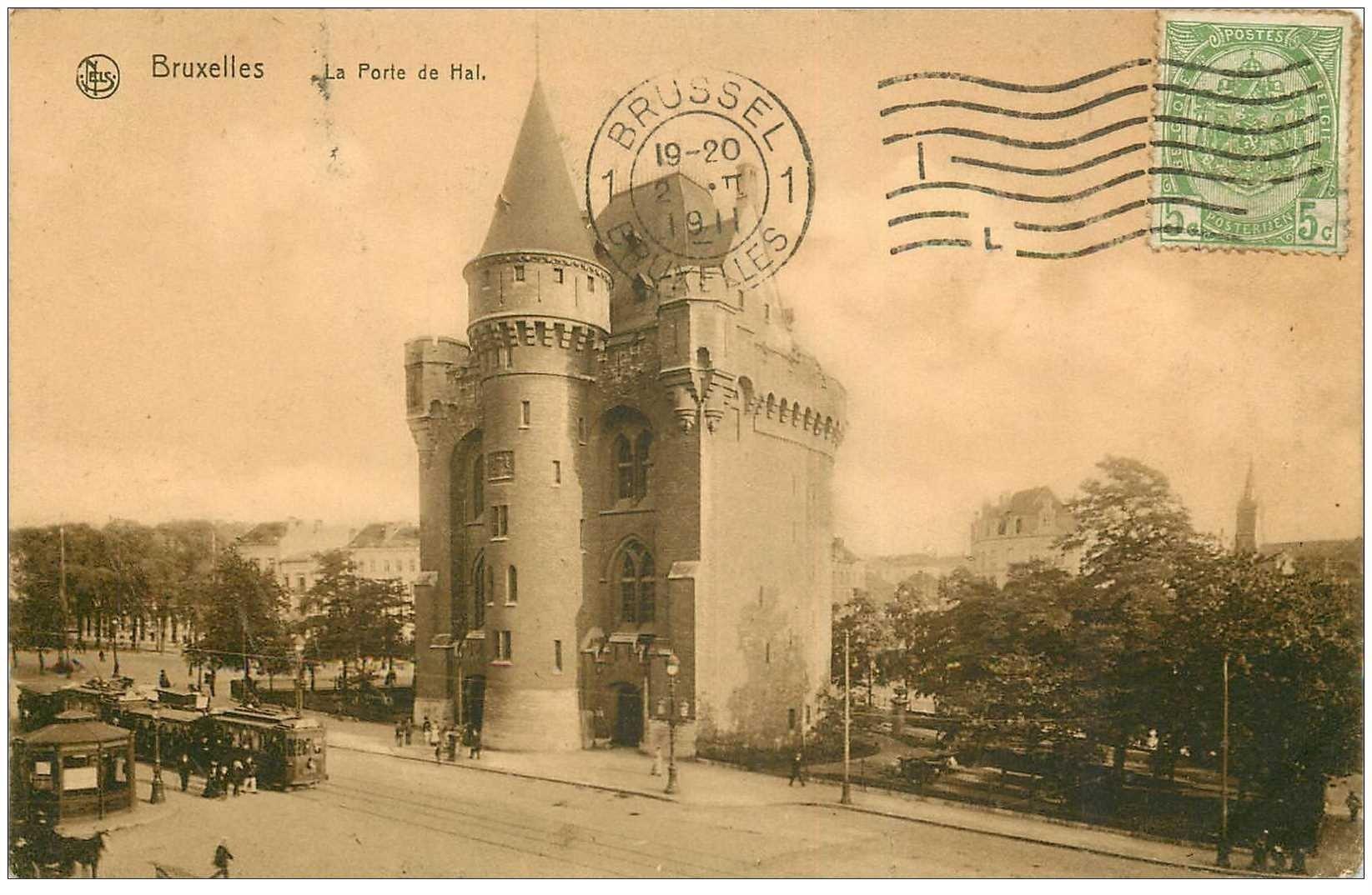 carte postale ancienne BRUXELLES. Porte de Hal 1911 pour Tonkin