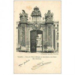 carte postale ancienne BRUXELLES. Porte Ecole Militaire Artillerie duGénie Rue Gambetta 1904