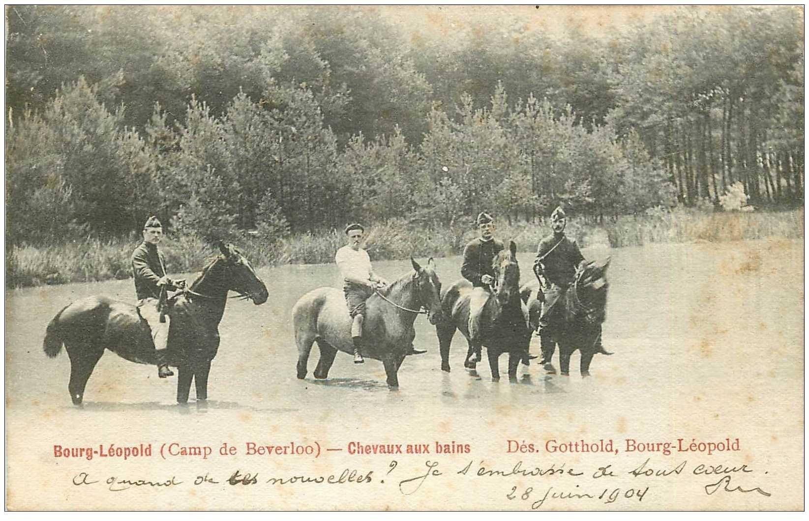 carte postale ancienne CAMP DE BEVERLOO. Bourg Léopold. Chevaux aux bains 1904