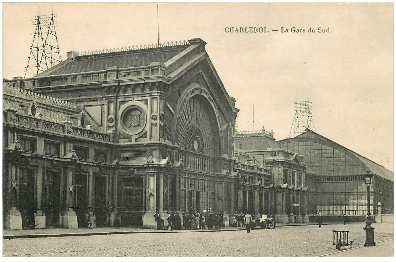 carte postale ancienne CHARLEROI. La Gare du Sud