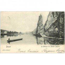 carte postale ancienne DINANT. La Meuse et Rocher Bayard 1905