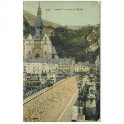 carte postale ancienne DINANT. Pont et Eglise 1909. Carte émaillographie tendance à se recroqueviller et timbre manquant