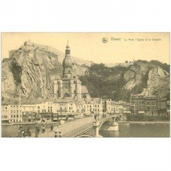 carte postale ancienne DINANT. Pont et Eglise, Citadelle