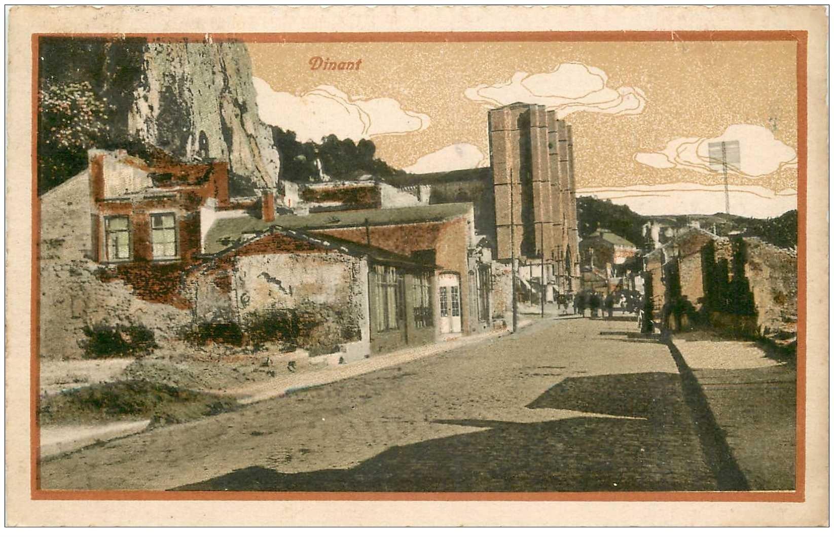 carte postale ancienne DINANT. Vue dessin 1923