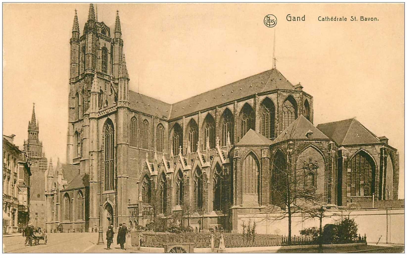 carte postale ancienne GAND GENT. Cathédrale Saint Bavon et jardin