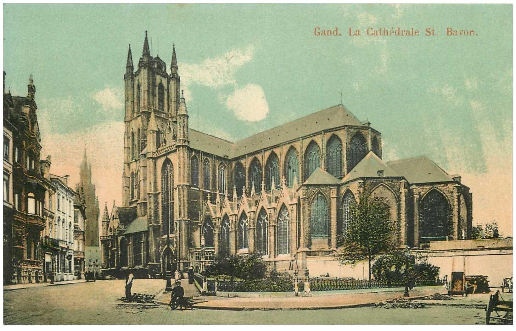 carte postale ancienne GAND GENT. Cathédrale Saint Bavon, colorisée