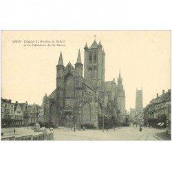 carte postale ancienne GAND GENT. Eglise Saint Nicolas Beffroi et Cathédrale Saint Bavon
