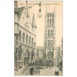 carte postale ancienne GAND GENT. Hall aux Draps et Cathédrale St Bavon
