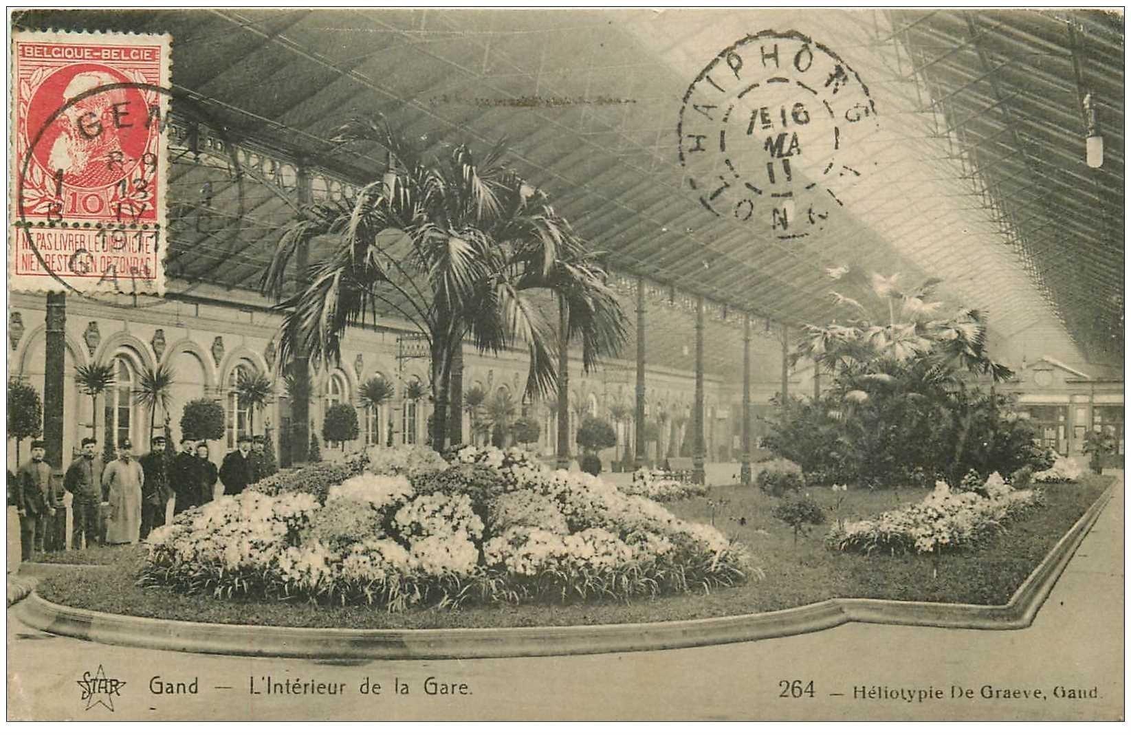 carte postale ancienne GAND GENT. Intérieur de la Gare 1911