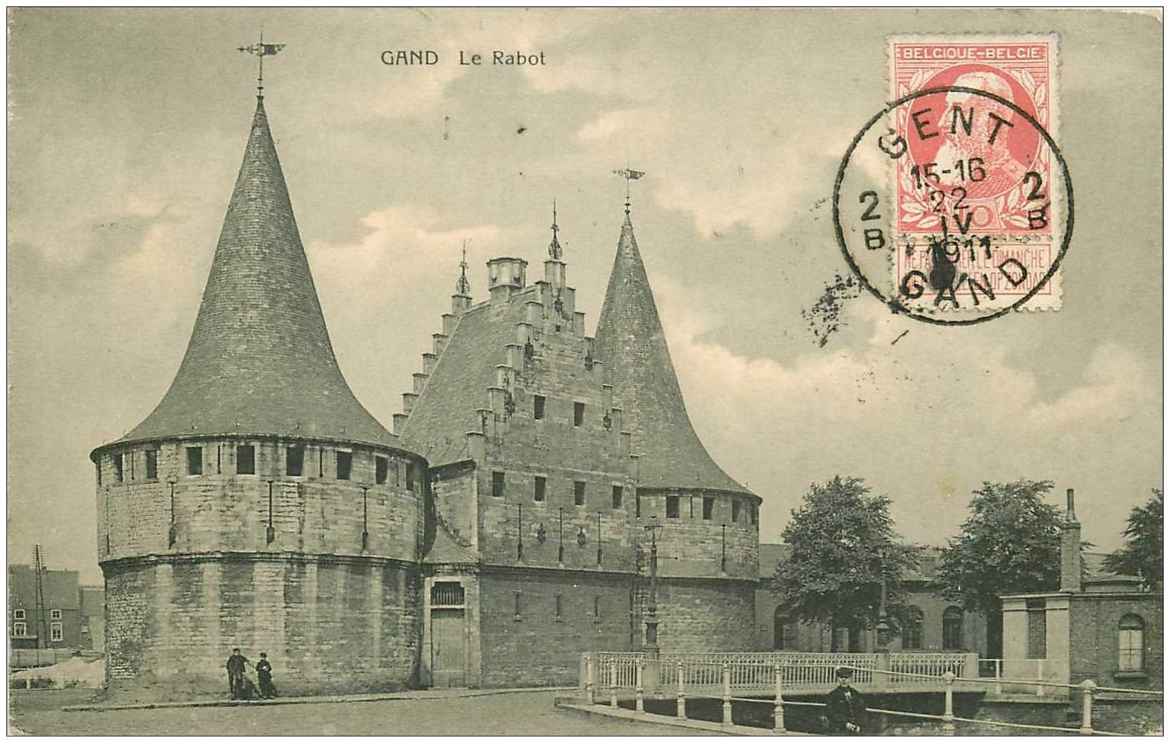 carte postale ancienne GAND GENT. Le Rabot 1911