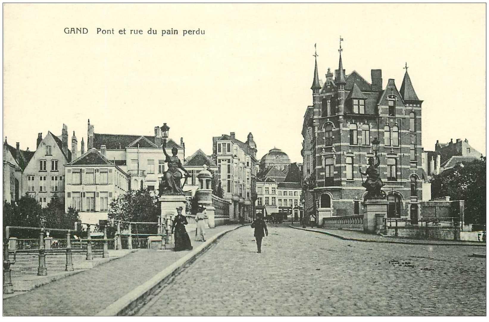 carte postale ancienne GAND GENT. Pont et Rue du Pain perdu