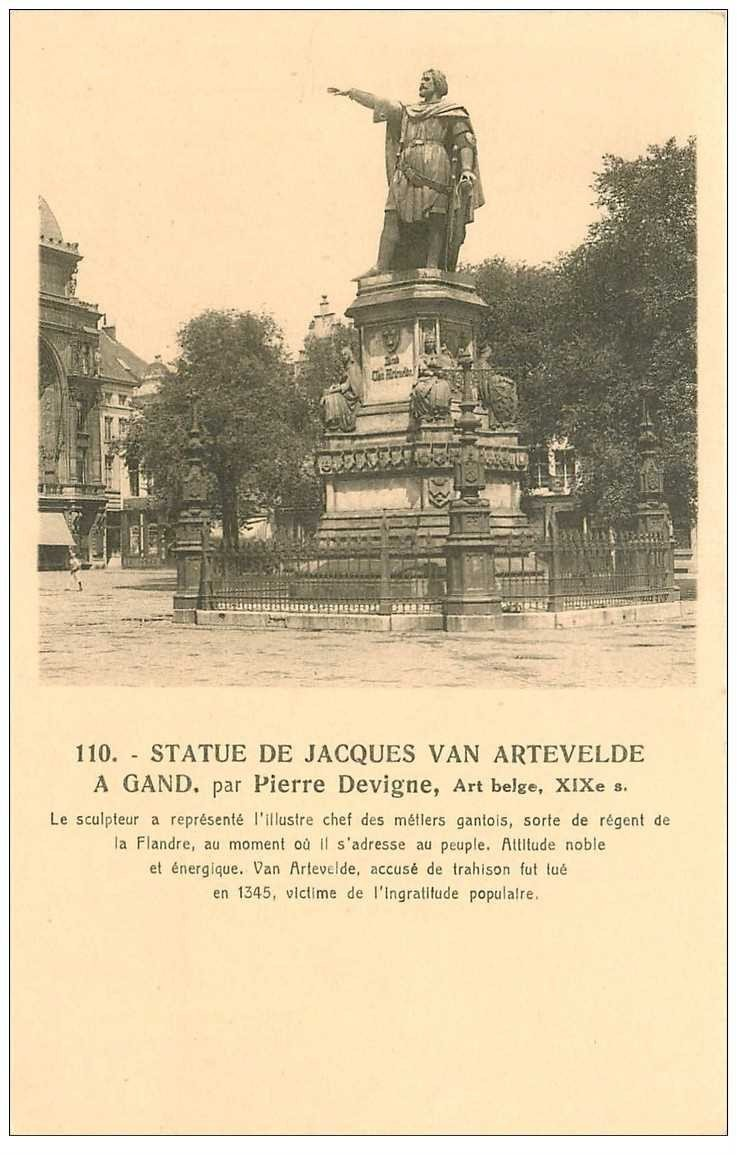 carte postale ancienne GAND GENT. Statue Jacques van Artevelde