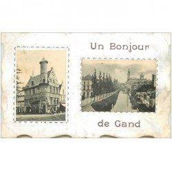 carte postale ancienne GAND GENT. Un bonjour double vue carte aux bords découpes stylisés 1910