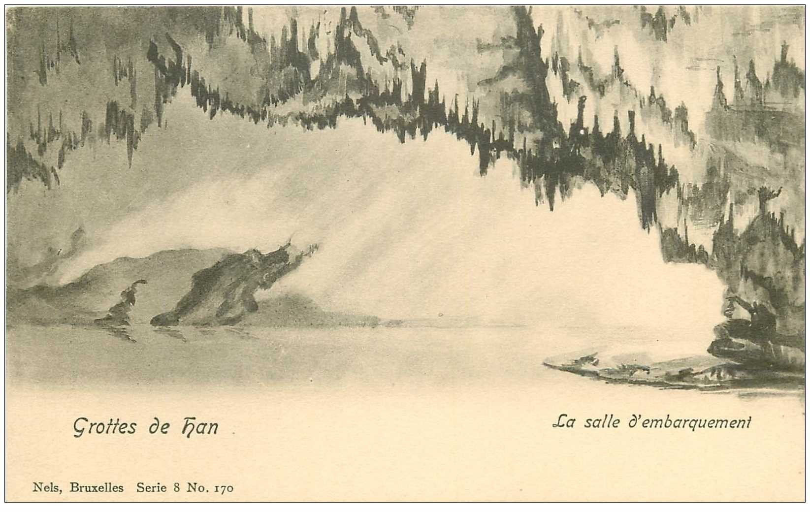 carte postale ancienne GROTTES DE HAN. Salle d'Embarquement vers 1900