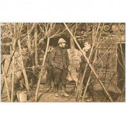 carte postale ancienne GUERRE 1914-18. Tranchées abris Officiers à Boesinghe