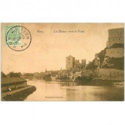carte postale ancienne HUY. La Meuse vers le Pont 1911