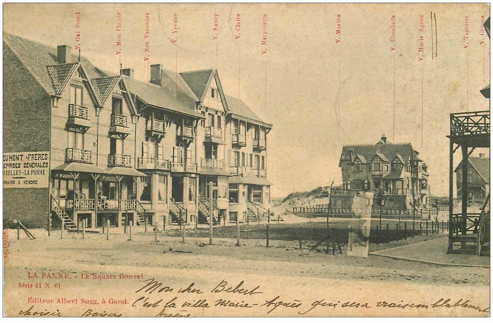 carte postale ancienne LA PANNE. Square Bonzel 1905