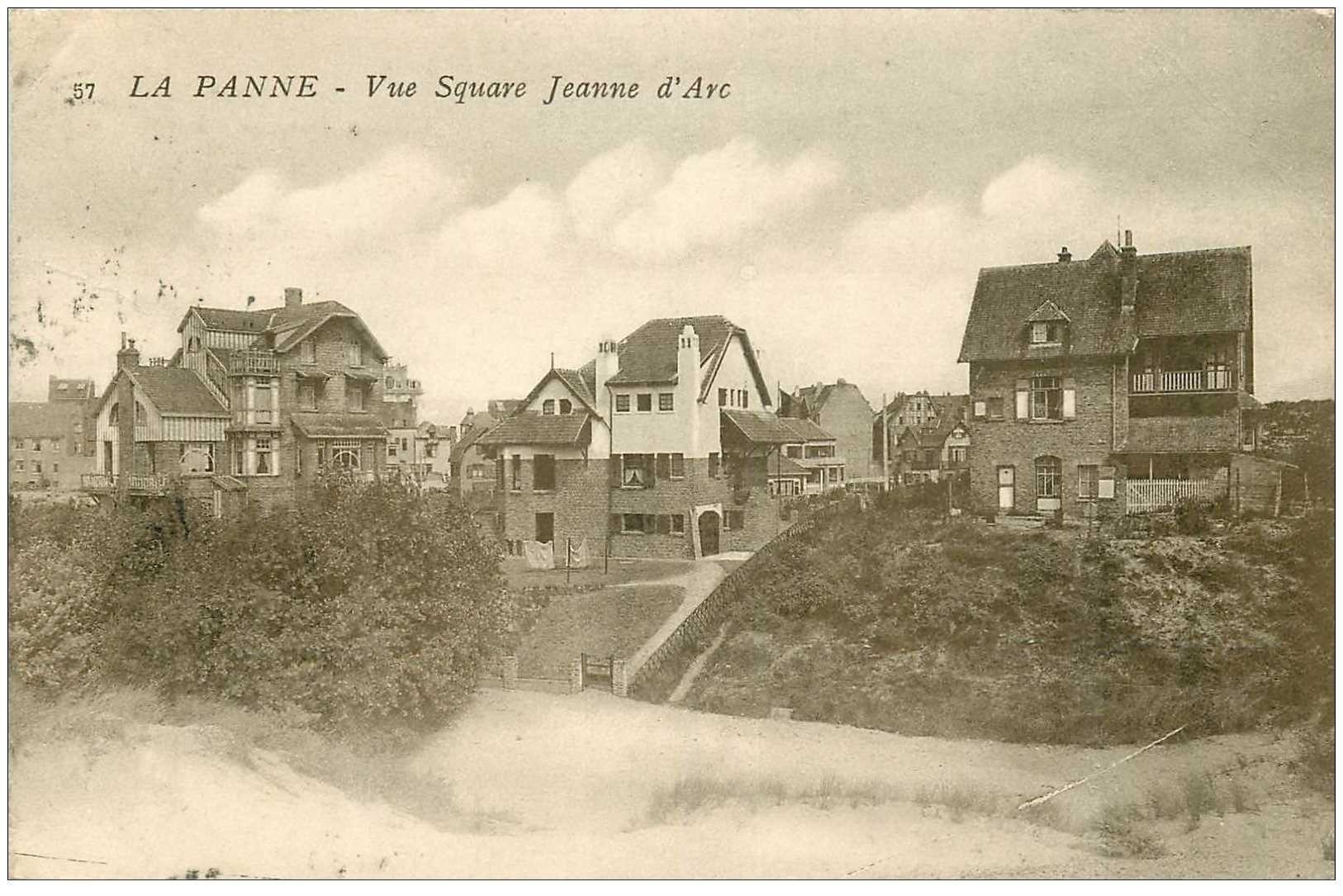 carte postale ancienne LA PANNE. Square Jeanne d'Arc