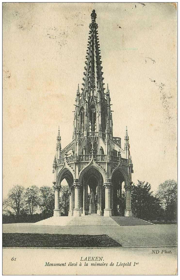 carte postale ancienne LAEKEN. Monument Léopold Ier 1908