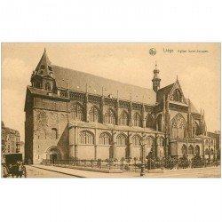 carte postale ancienne LIEGE. Eglise Saint Jacques attelage