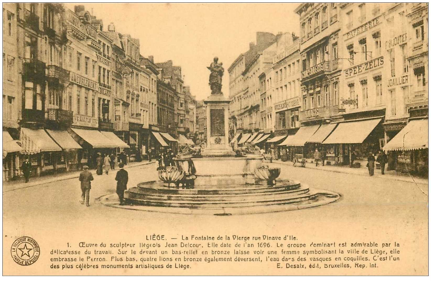 carte postale ancienne LIEGE. Fontaine de la Vierge rue Vinave d'Ile