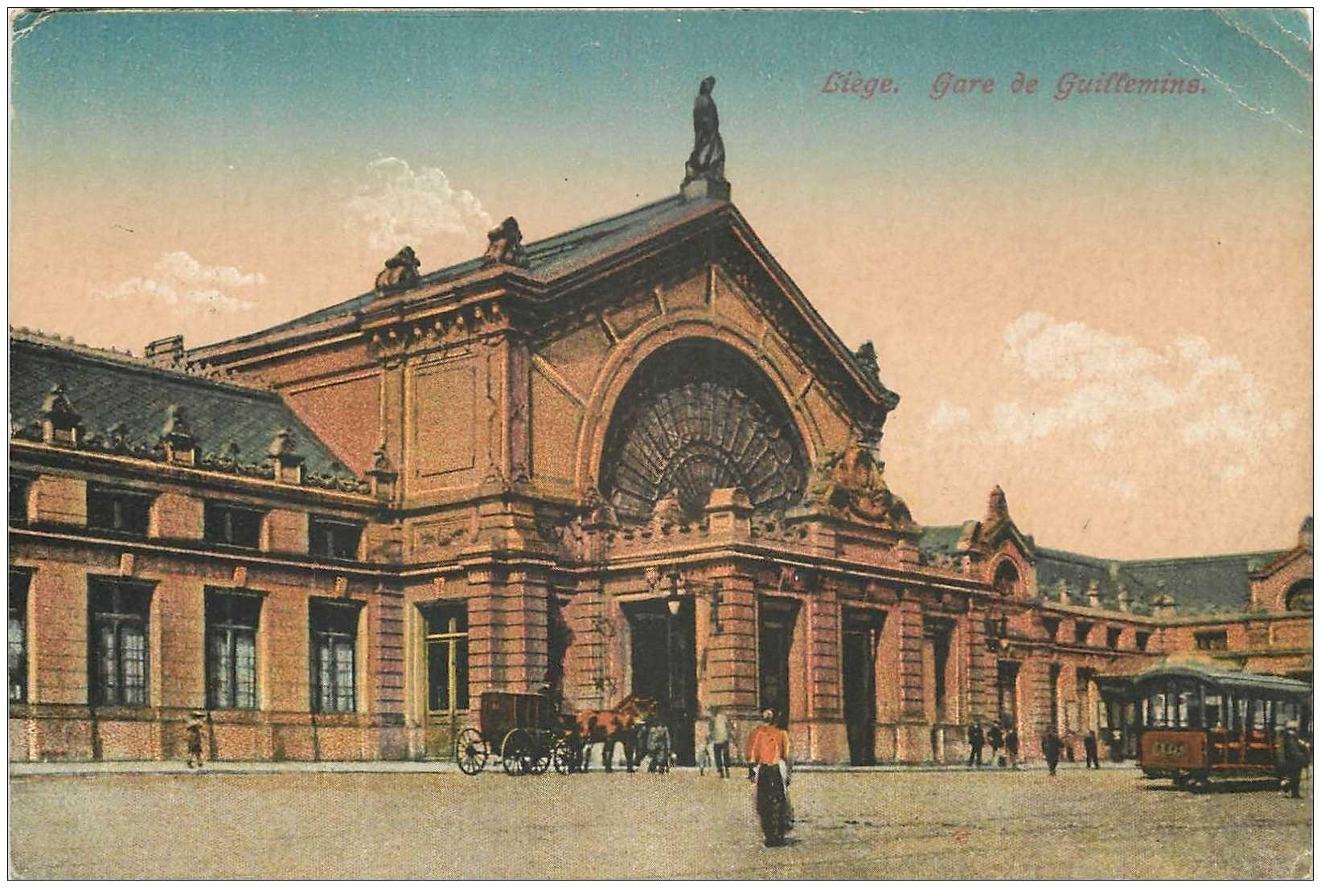 carte postale ancienne LIEGE. Gare de Guillemins 1922 ridules coin...