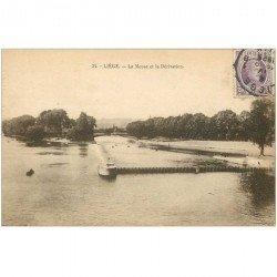 carte postale ancienne LIEGE. Meuse et Dérivation 1925