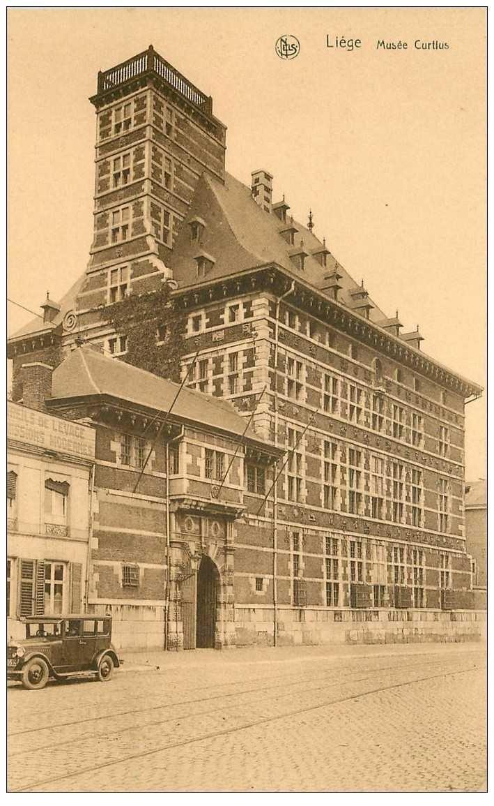 carte postale ancienne LIEGE. Musée Curtius et voiture ancienne