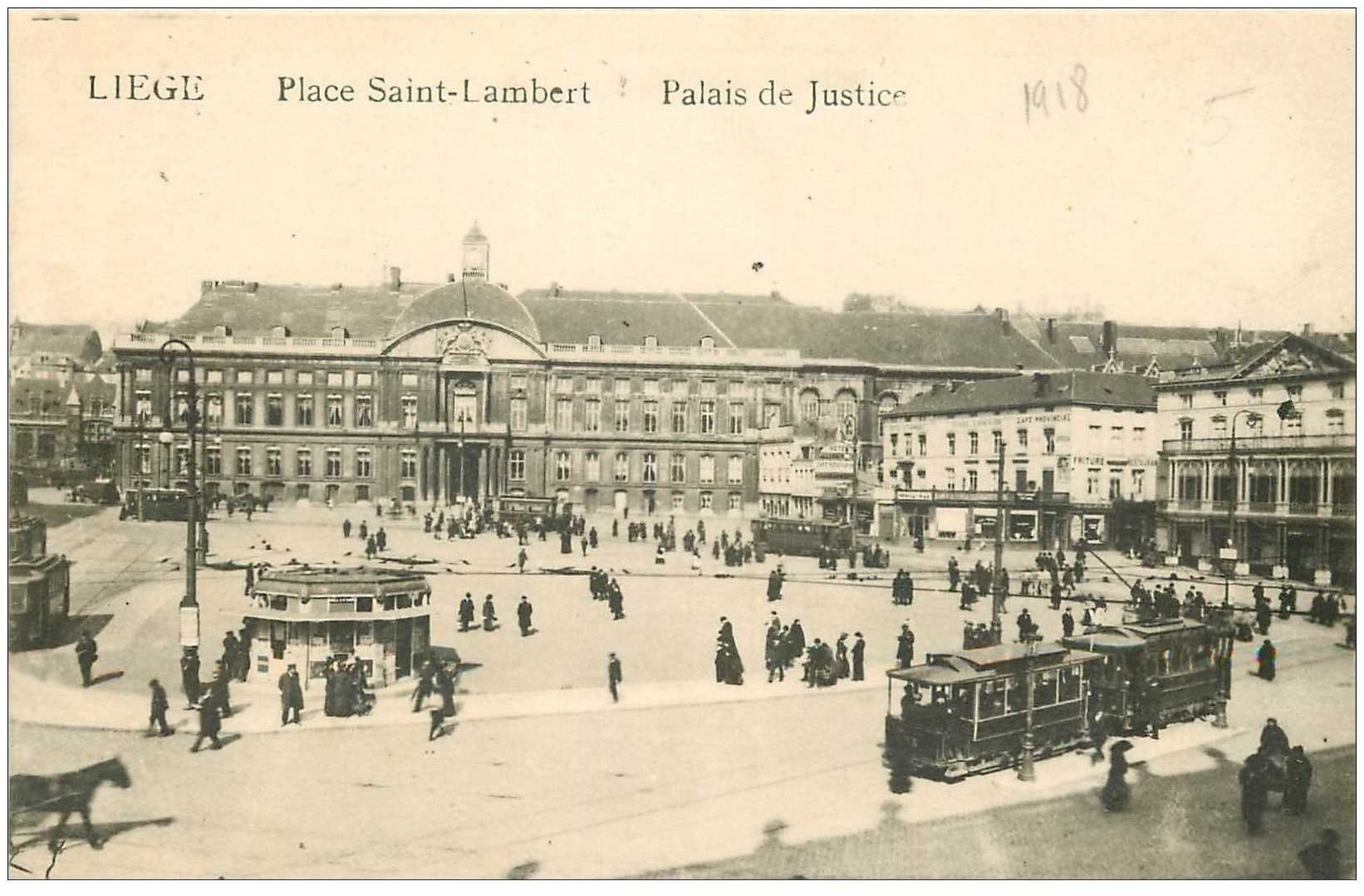 carte postale ancienne LIEGE. Palais de Justice et Tramways