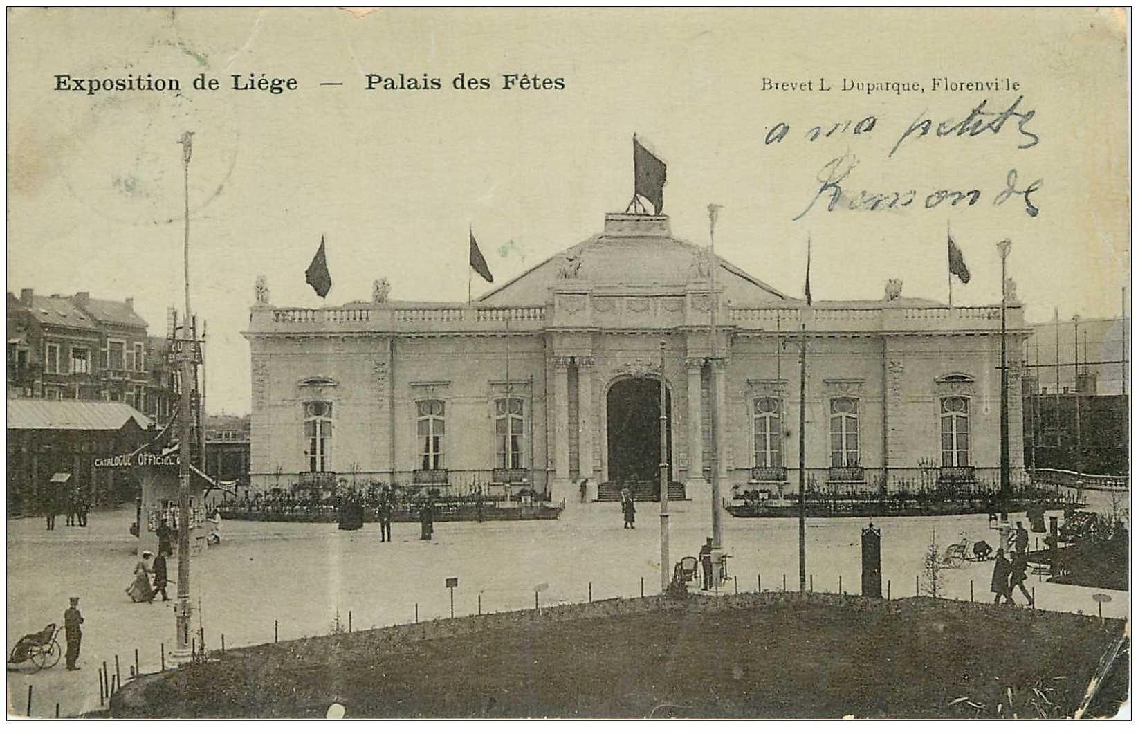 carte postale ancienne LIEGE. Palais des Fêtes 1905 (défauts)